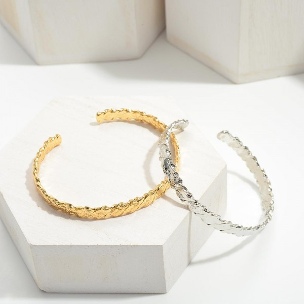 """Metal Cuff Bracelets with Twisted Details.   -Approximately 2.25"""" in Diameter"""