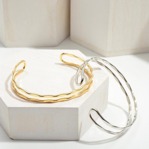 """Metal Cuff Bracelet With Ribbed Details.   - Approximately 2.5"""" in Diameter"""