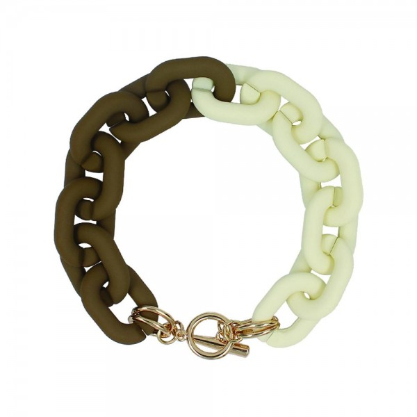 """Chunky Chain Link Bracelet  - Rubber Coated - Approximately 4"""" Diameter"""