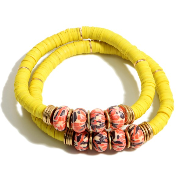 """Set of Two Heishi Bead Bracelets Featuring Beaded and Gold Accents.  - Approximately 2.5"""" in Diameter"""