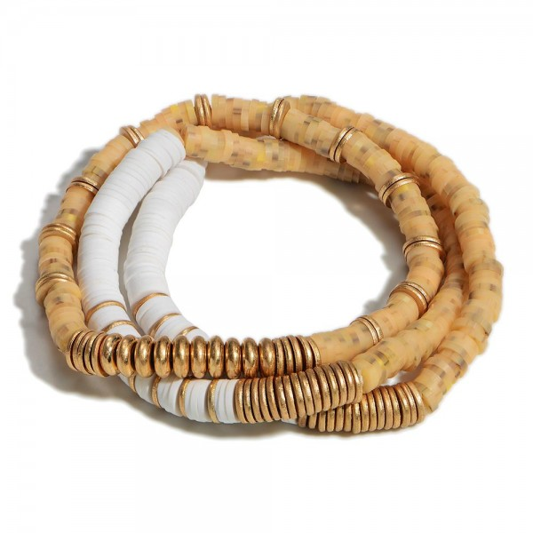 """Set of Three Heishi Bead Bracelets Featuring Gold Accents  - Approximately 2.5"""" Diameter"""