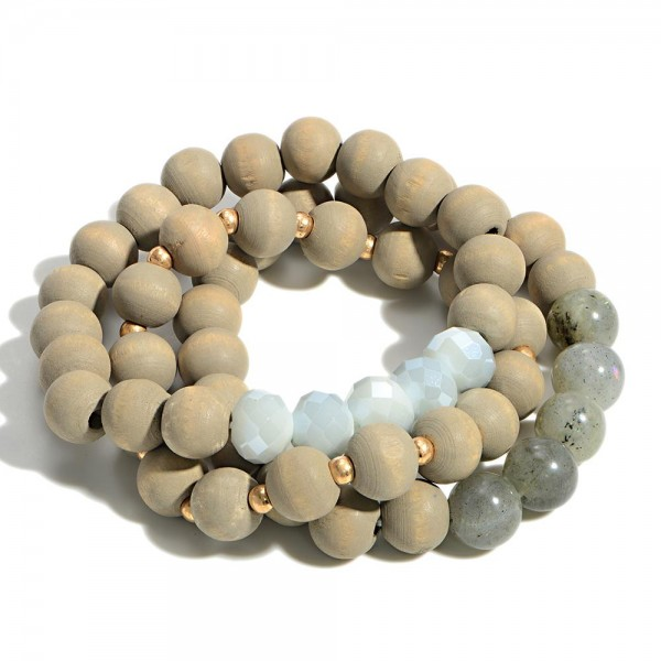 """Set of Three Wooden Beaded Bracelet Featuring Glass Beads  - Approximately 3"""" Diameter"""