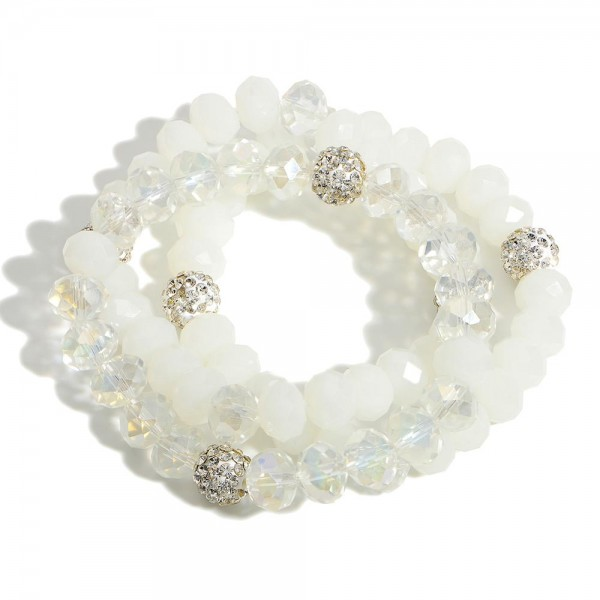"""Set of Three Beaded Bracelets Featuring Rhinestone Accents.   - Approximately 2.5"""" in Diameter"""