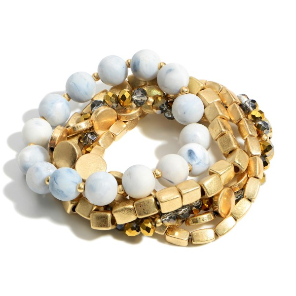 """Set of Five Beaded Bracelets Featuring Gold Accents.   - Approximately 2.5"""" in Diameter"""