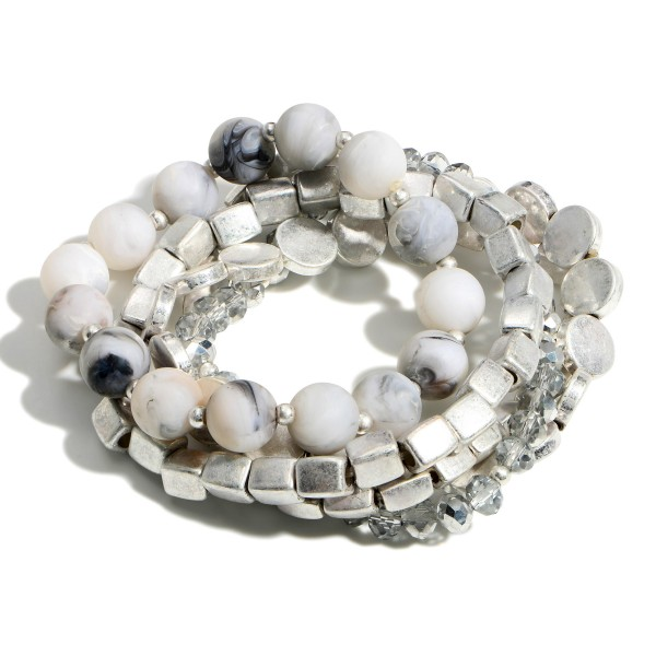 """Set of Five Beaded Bracelets Featuring Silver Accents.   - Approximately 2.5"""" in Diameter"""