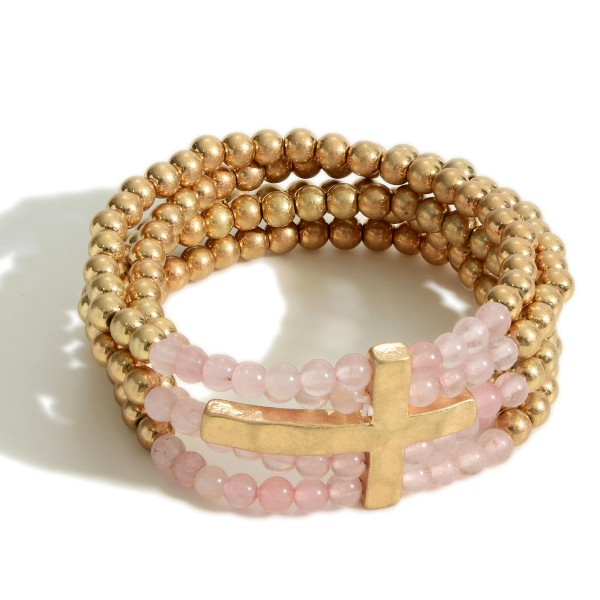 """Gold Beaded Layering Bracelets With Cross Pendant.   - Approximately 2.5"""" in Diameter"""