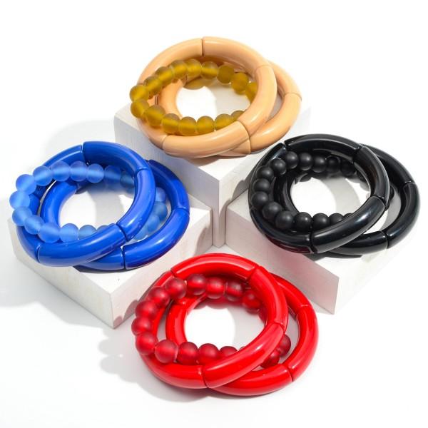 "Set of Three Chunky Beaded Bracelets  - Approximately 3"" Diameter"