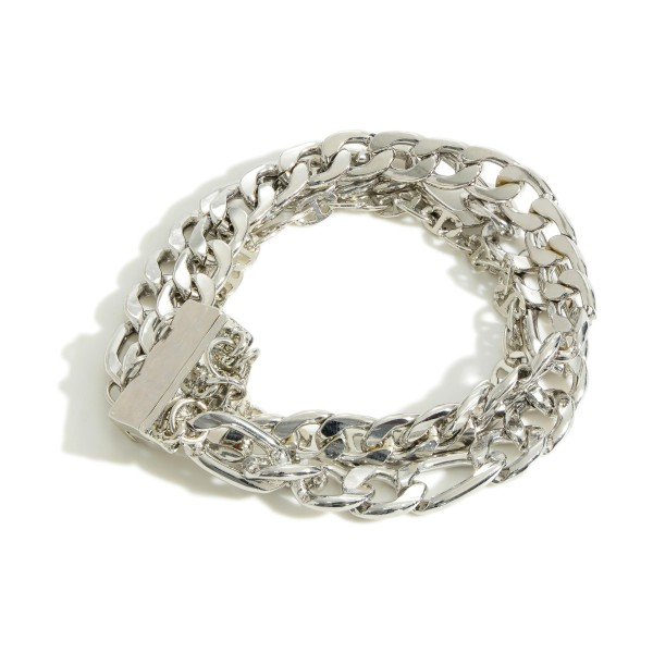 """Figaro Three Strand Gold Chain Link Bracelet  - Magnetic Closure - Approximately 7"""" Length"""