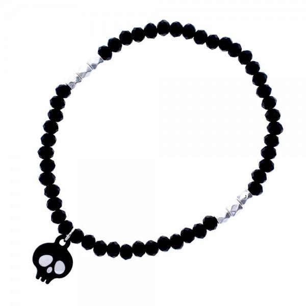 "Petite Black Beaded Stretch Bracelet with Black Skull Charm  - Approximately 2.5"" Diameter"