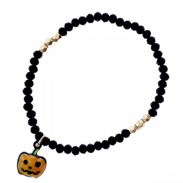 "Petite Black Beaded Stretch Bracelet with Jack-O-Lantern Charm  - Approximately 2.5"" Diameter"