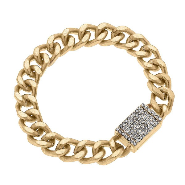 """Worn Gold Chunky Curb Chain Bracelet Featuring Rhinestone Magnetic Clasp  - Approximately 8"""" Long"""