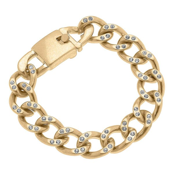 """Worn Gold Chunky Curb Chain Bracelet Featuring Rhinestone Inlays  - Approximately 8"""" Long"""