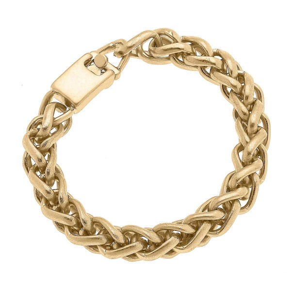 """Worn Gold Twisted Chunky Chain Bracelet  - Approximately 8"""" Long"""