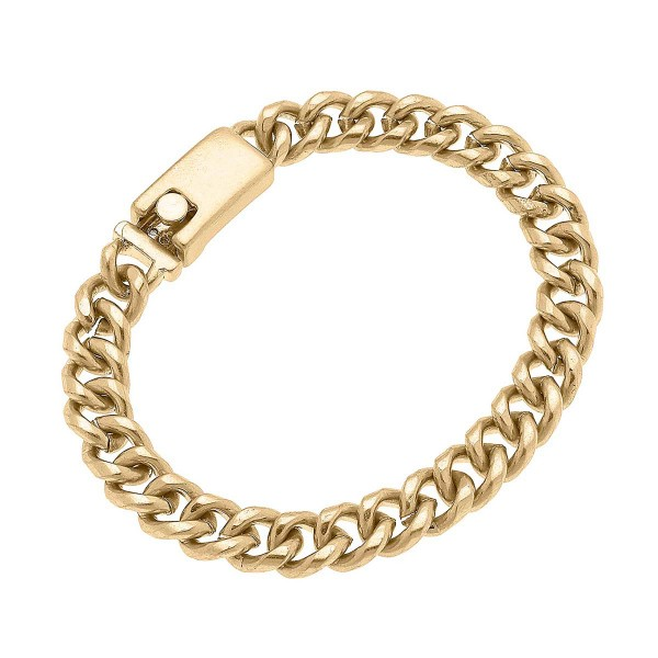 """Worn Gold Curb Chain Bracelet  - Approximately 8"""" Long"""