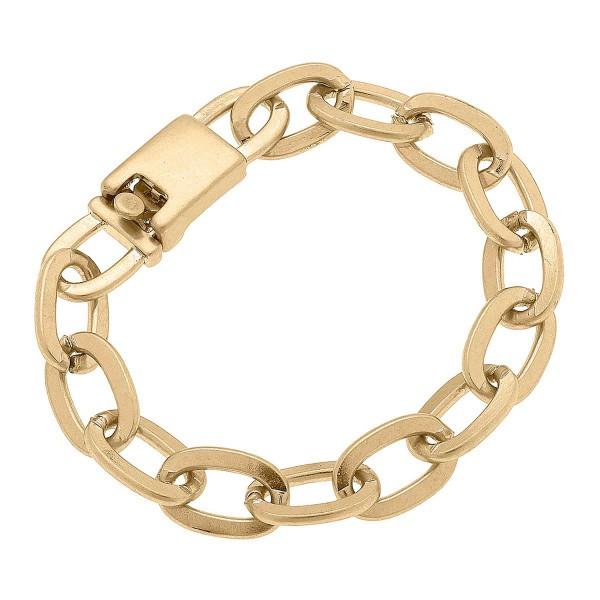 "Worn Gold Chunky Chain Bracelet  - Approximately 8"" Long"