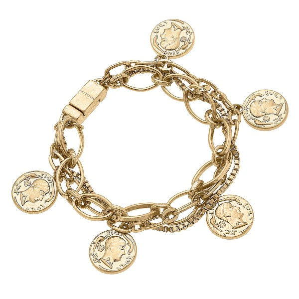 """Worn Gold Mixed Media Chain Link Bracelet Featuring Coin Charms  - Approximately 8"""" Long"""