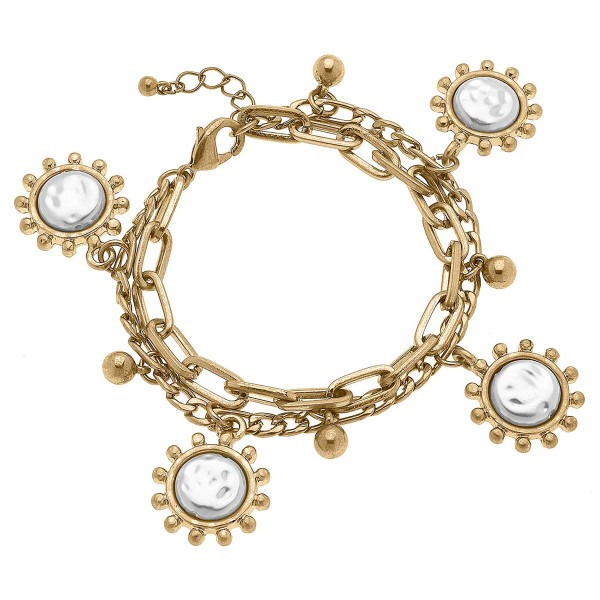 """Worn Gold Mixed Media Chain Link Bracelet Featuring Pearl Charms  - Approximately 8"""" Long"""