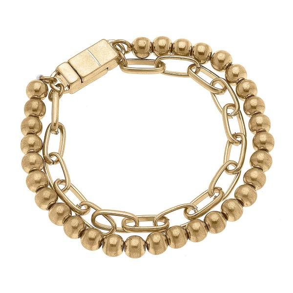 "Worn Gold Mixed Media T-Bar Bracelet  - Approximately 8"" Long"
