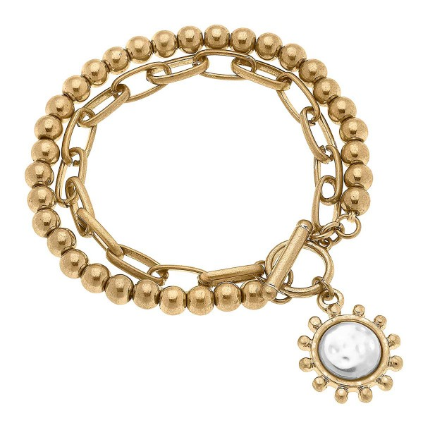 """Worn Gold Mixed Media T-Bar Bracelet Featuring Pearl Charm  - Approximately 8"""" Long"""