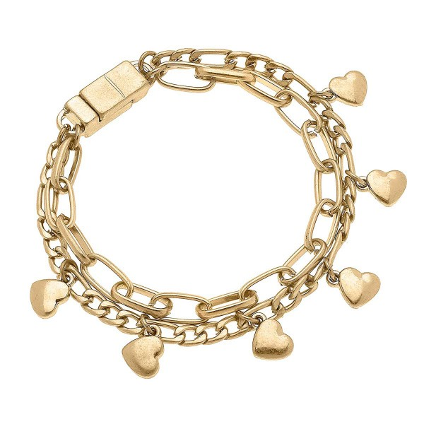 Worn Gold Layered Chain Link Bracelet Featuring Heart Charms