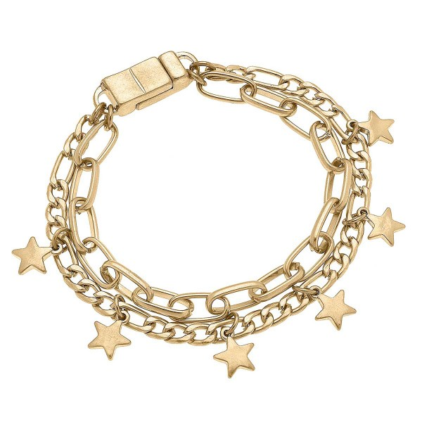 Worn Gold Layered Chain Link Bracelet Featuring Star Charms