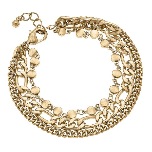 """Worn Gold Mixed Media Chain Link Bracelet  - Approximately 8"""" Long"""