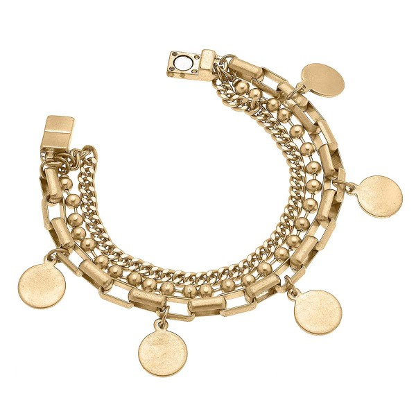"""Worn Gold Mixed Media Chain Link Bracelet Featuring Disc Charms  - Approximately 8"""" Long"""