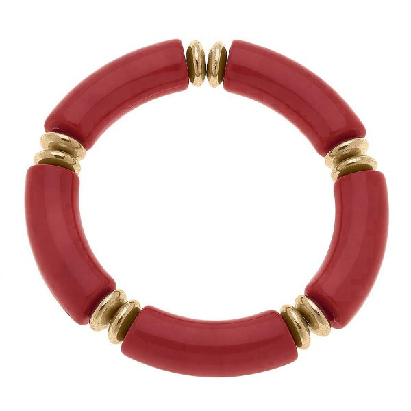"""Resin Disc Stretch Bracelet Featuring Worn Gold Accents  - Approximately 3"""" Wide"""