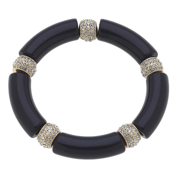 """Resin & Pavé Stretch Bracelet  - Approximately 3"""" Wide"""