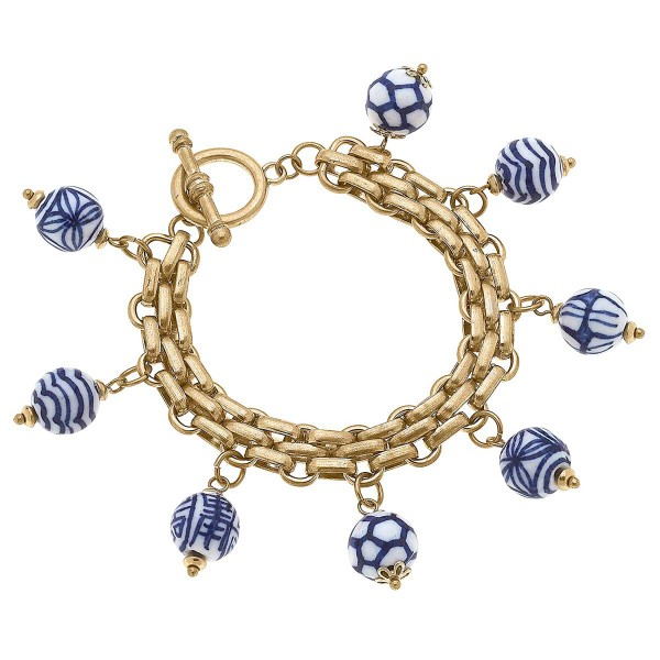 """Worn Gold Chain Link Bracelet Featuring Chinoiserie Charms  - Approximately 8"""" Long"""