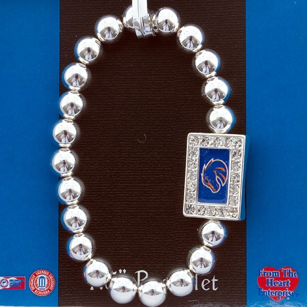 Officially licensed silver tone beaded stretch bracelet featuring a rectangular Boise State pendant encrusted with crystal rhinestones.