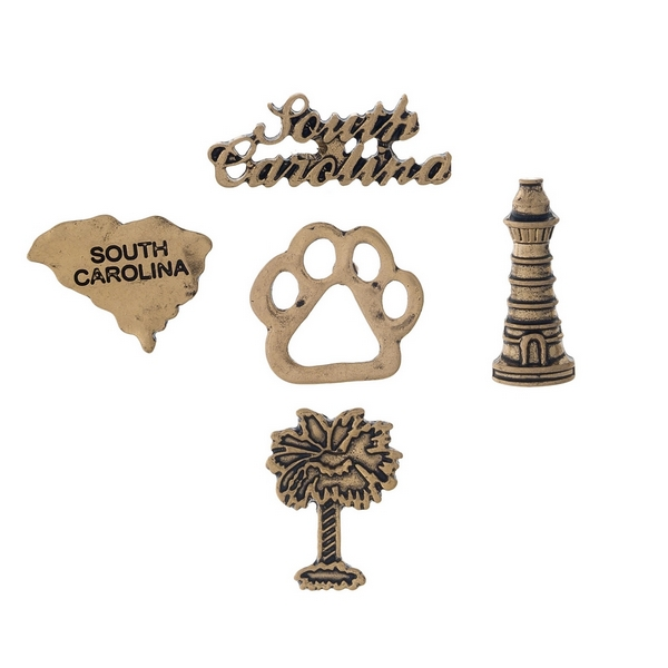 Gold tone pin set with a South Carolina theme.