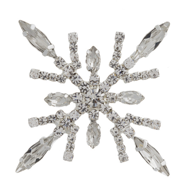 """Rhinestone winter snowflake Holiday brooch pin. Approximately 2.5"""" in diameter."""