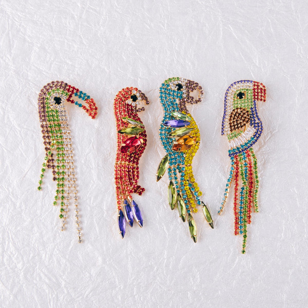 """Multicolor rhinestone parrot brooch pin. Approximately 3"""" in length."""