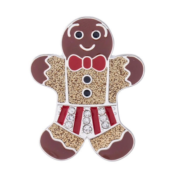 """Enamel Coated Christmas Gingerbread Man Blouse Pin.  - Approximately 2"""" in Size"""