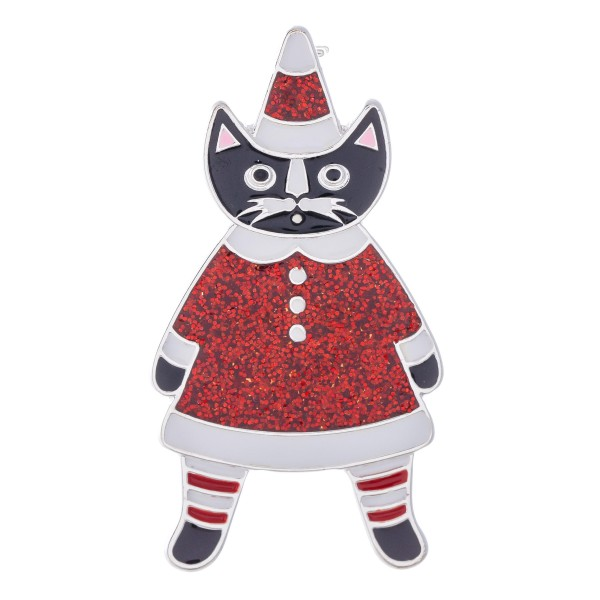 """Enamel Coated Christmas Cat Blouse Pin.  - Approximately 2"""" in Size"""