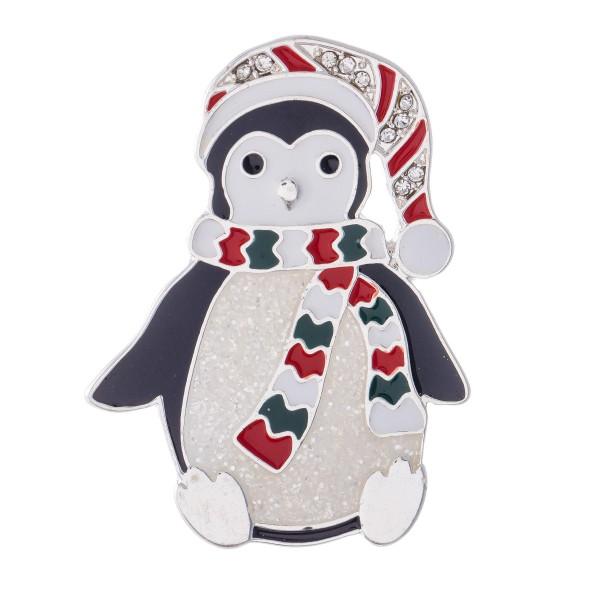 "Enamel Coated Christmas Penguin Blouse Pin.  - Approximately 2"" in Size"