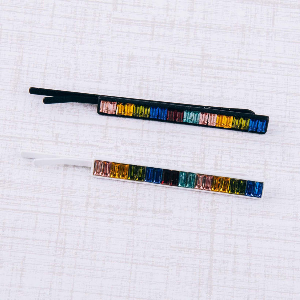 "Color block rhinestone hair pin. Approximately 3"" in length."