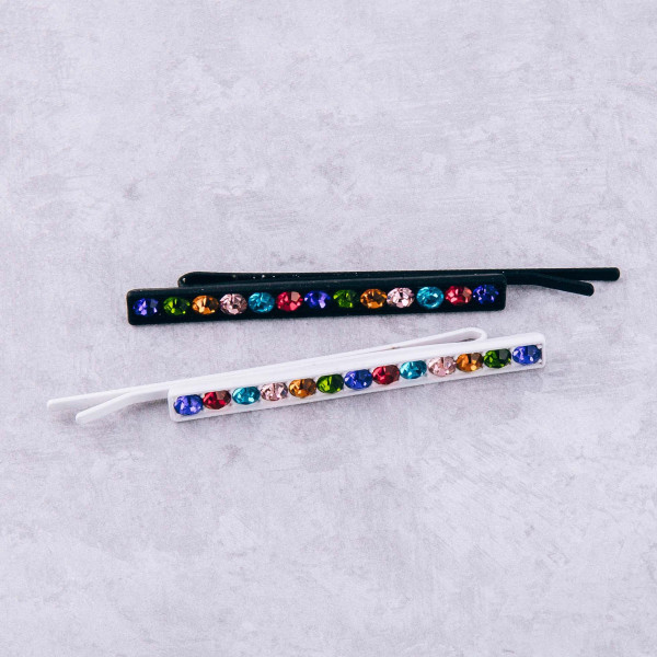"Multicolor rhinestone hair pin. Approximately 3"" in length."