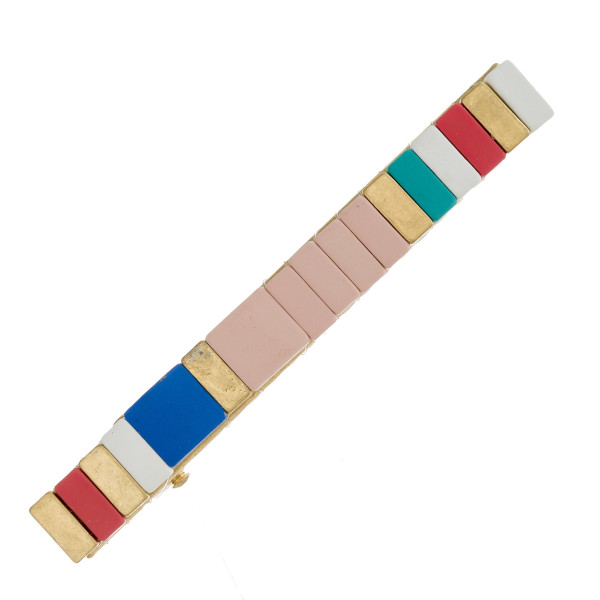 """Color block hair clip. Approximately 3"""" in length."""