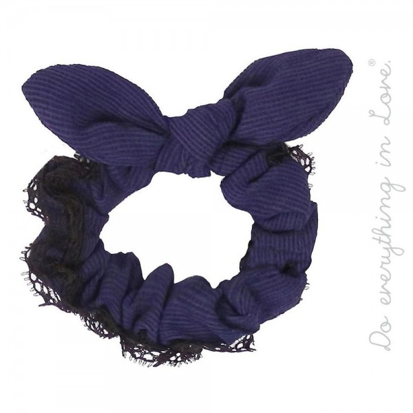 Do everything in Love brand solid color lace trim knotted bow hair scrunchie.  - One size - 100% Polyester