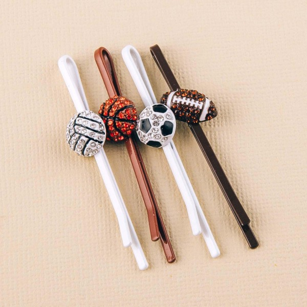 """Rhinestone volleyball enamel coated hair pin set. Features two pins. Approximately 2.5"""" in length."""