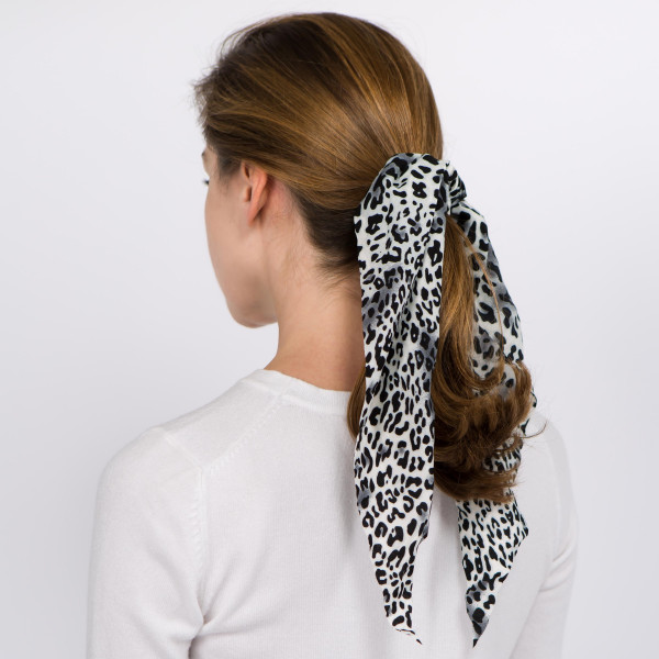"Long leopard print hair scarf scrunchie.   - One size - Approximately 13"" L - 100% Polyester"
