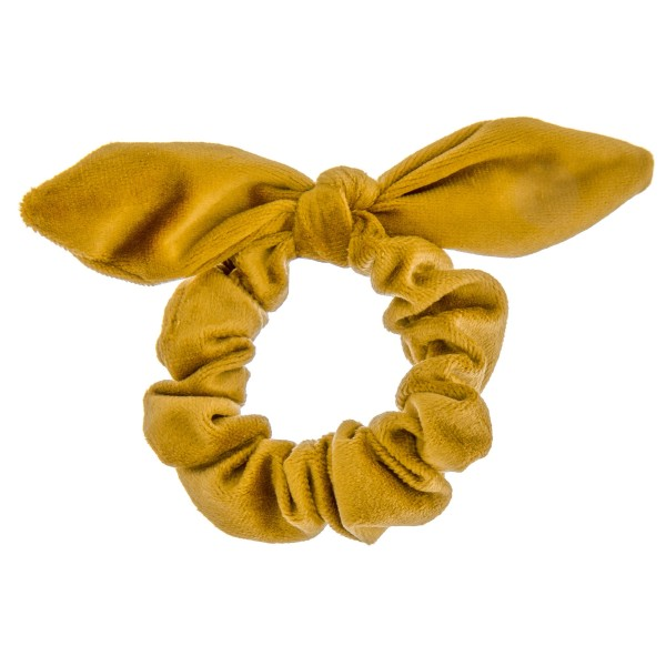 Solid color velvet bow hair scrunchie.  - One size - 100% Polyester