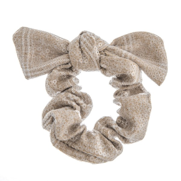 Sequins plaid bow hair scrunchie.  - One size - 100% Polyester