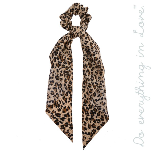 Wholesale do everything Love brand leopard print ponytail hair scarf scrunchie O