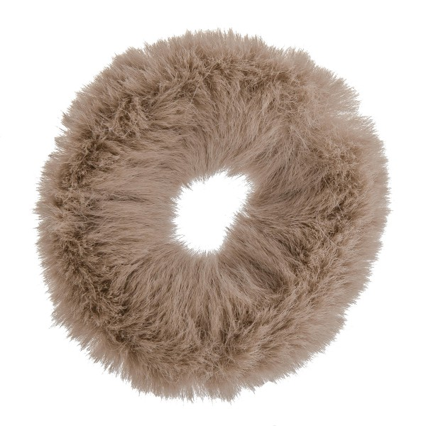 Solid faux fur ponytail holder scrunchie.  - One size - 100% Polyester