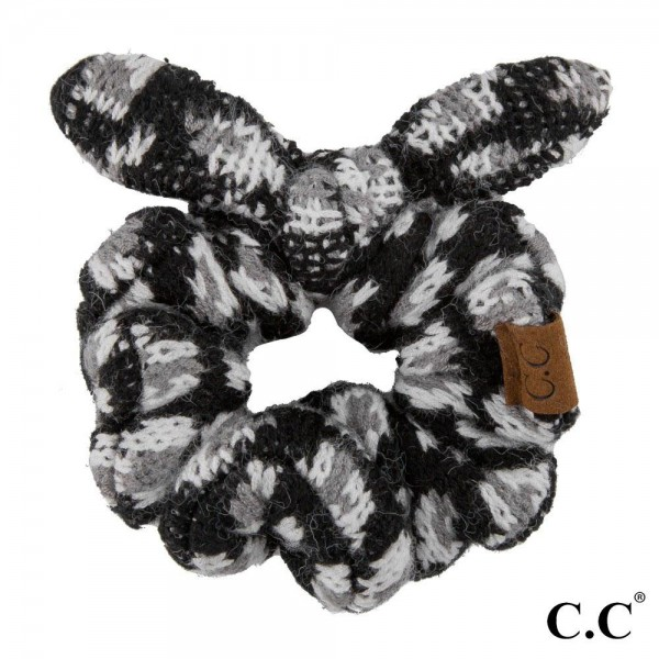 C.C Exclusives SCR-01 Leopard print, bow top knit scrunchie  - 47% Viscose, 29% Polyester, 24% Nylon - Hand wash in cold only