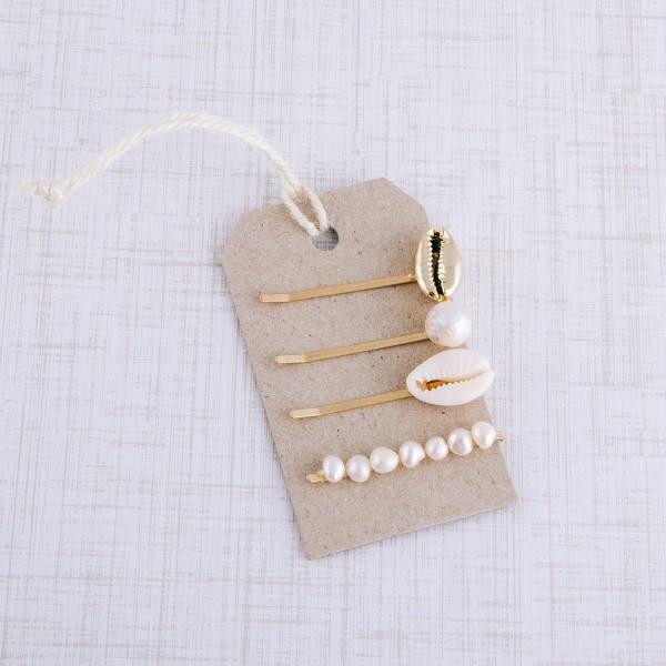 "Puka shell pearl hair pin set.  - 4pcs/set - Approximately 2"" L"