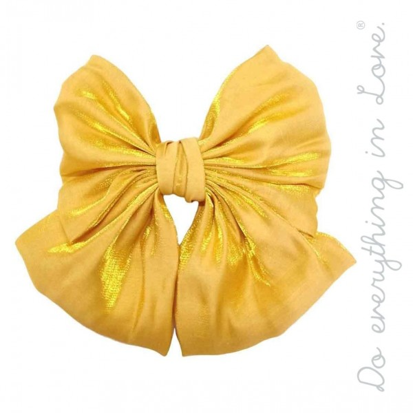 """Do everything in Love brand oversized shimmered bow ribbon hair barrette.  - One size - Approximately 6"""" W x 5"""" L - 100% Polyester"""